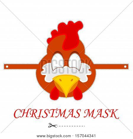 Vector cartoon rooster mask. Cock carnival mask template. Isolated on white rooster mask.