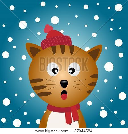 A cute cat with snowy blue background