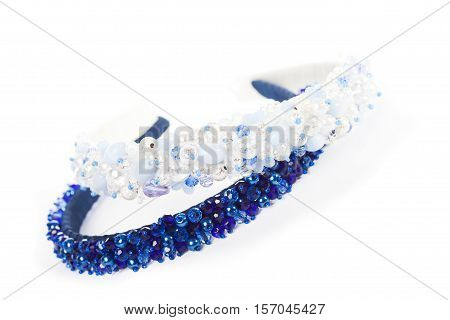 Two blue jewelry headbands for female hair