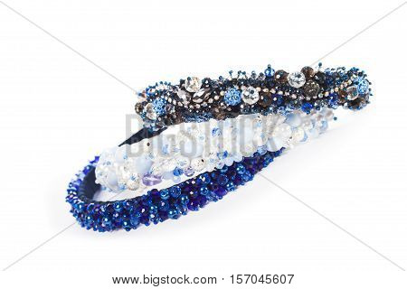 Three blue jewelry headbands for female hair