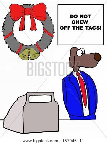 Business illustration of a clerk dog reminded to not chew off the tags.