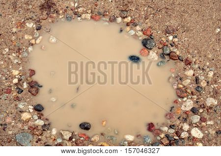 puddle reflection rocks sky sand damp wet autumn water