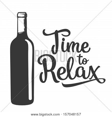 Red wine bottle, sketch style vector invitation, banner, poster template. black and white hand drawing of an unlabeled, unopened wine bottle, time to relax concept for posters, postcards