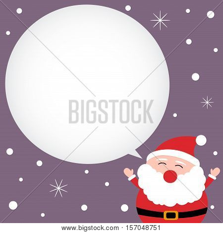 Christmas card with happy Santa Claus and snow