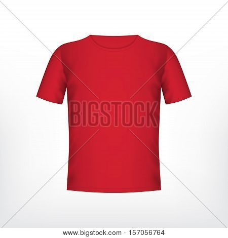 Mens red t-shirt with short sleeve. Vector mockup. EPS10