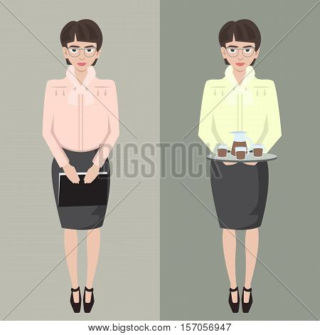 young shy secretary girl with file and coffee tray vector cartoon