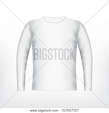 Mens white t-shirt with long sleeve. Vector mockup. EPS10