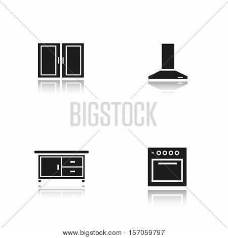 Kitchen interior drop shadow black icons set. Range hood, stove, kitchen counter and cabinet. Isolated vector illustrations