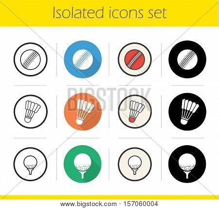 Sport balls icons set. Flat design, linear, black and color styles. Cricket and golf ball on tee, shuttlecock. Isolated vector illustrations