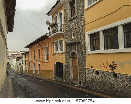 Colonial architecture on street in Quito, Ecuador