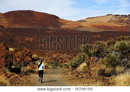 Woman run. Trail running on the Volcano Teide, Tenerife
