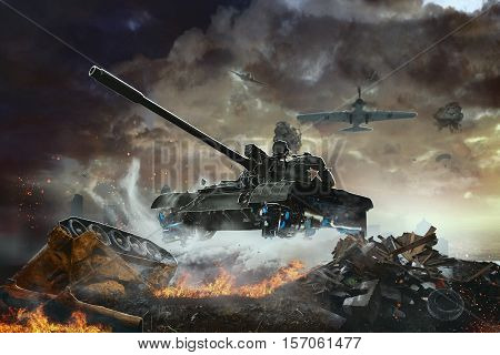 Flying Tank future. The flying combat vehicle on a combat mission
