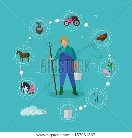 Farmer with pitchfork and bucket in the center of farming infographic elements. Domestic animals and farming tools. Vector illustration in flat style