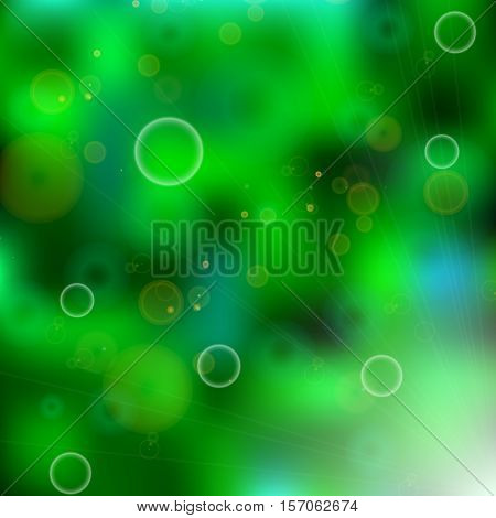Green black blur pattern vector illustration. Abstract shining background - shining bubbles and sparkling circles on green glowing pattern.Sparkling blur circles on green black blur background