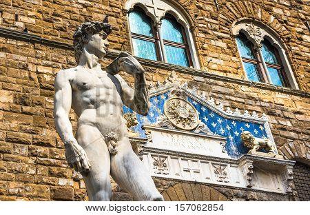 Stature Of David By Michelangelo In Piazza Della Signoria, Florence, Italy