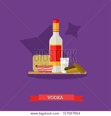 Vodka bottle and glass of vodka with light meal pickled cucumbers, bread and bacon. Alcohol drinks concept vector Illustration in flat style