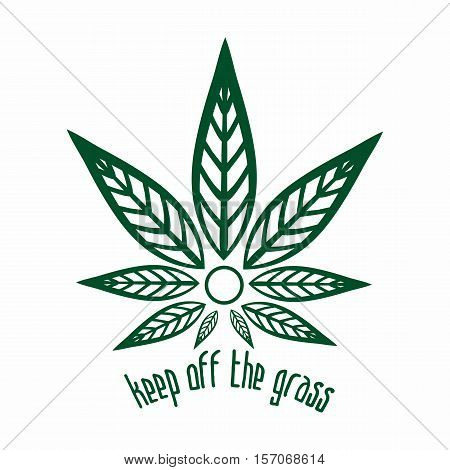 Cannabis logo. Hemp Line icons. Stylized leaf cannabis. Sign T-shirts for design, creating corporate identity and promotional products.
