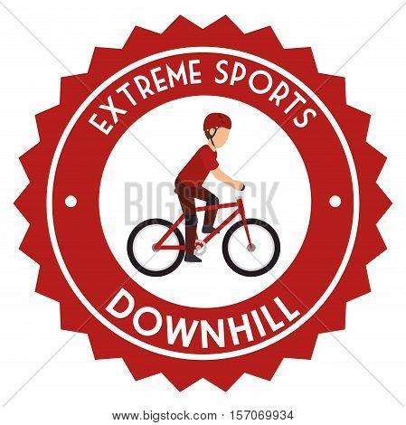 downhill extreme sport emblem vector illustration eps 10