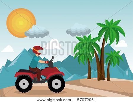 atv driver man beach mountain background vector illustration eps 10