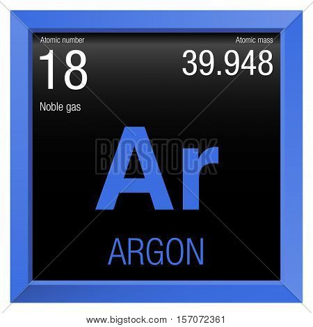 Argon Symbol. Element number 18 of the Periodic Table of the Elements - Chemistry - Blue frame with black background