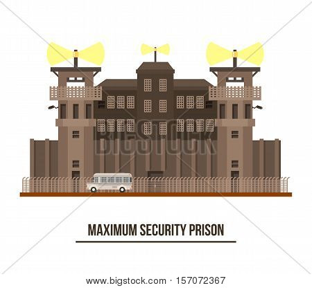 Maximum security prison with prisoner transport vehicle. Jail and prison building with towers and fence architecture facade exterior or outdoor view. For criminal theme, prison for prisoners