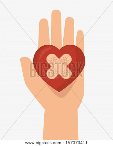 hand hols heart cure band icon vector illustration eps 10