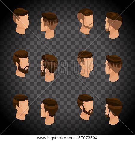 Isometric set of avatars, men's hairstyles, hipster style. Laying, beard, mustache. Modern, stylish hairstyle, young people, fashionable business on a transparent background. Vector illustration.