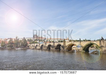 Prague , wiew of the Lesser Bridge Tower of Charles Bridge (Karluv Most) and Prague Castle, Czech Republic.