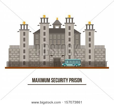 Towers and fence at maximum security prison. Criminal jailhouse and prisoner transport vehicle illustration. For federal prison structure and jail building, prison exterior, criminal maximum security