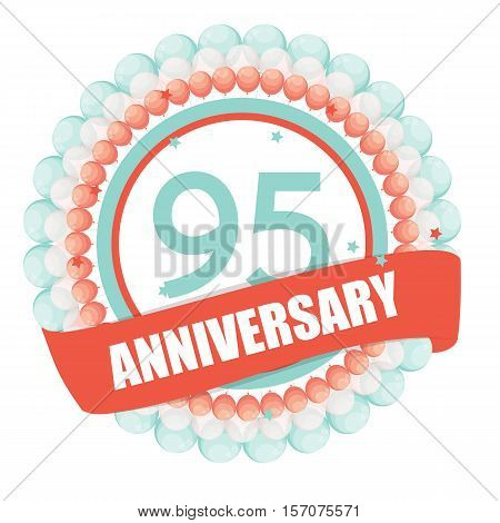 Cute Template 95 Years Anniversary with Balloons and Ribbon Vector Illustration EPS10
