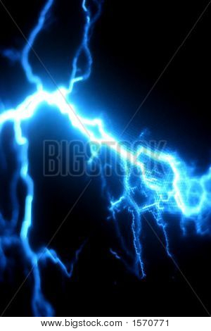 Blue Electricity Storm Against A Black Background