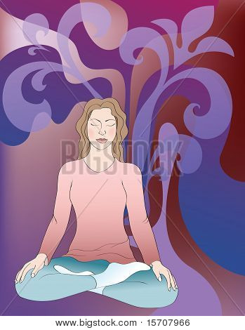 Background With Meditating Girl