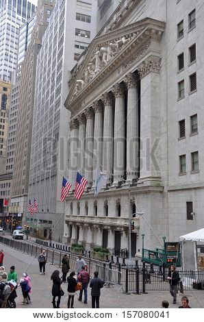 NEW YORK CITY - JAN 12, 2013: New York Stock Exchange facade at Wall Street in Lower Manhattan, New York City, USA.