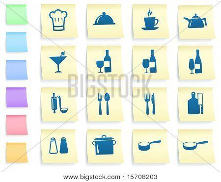Ícones de restaurante em publicá-la Nota papel coleção ilustração Original