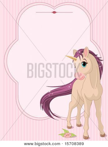 Place card of standing beautiful baby unicorn