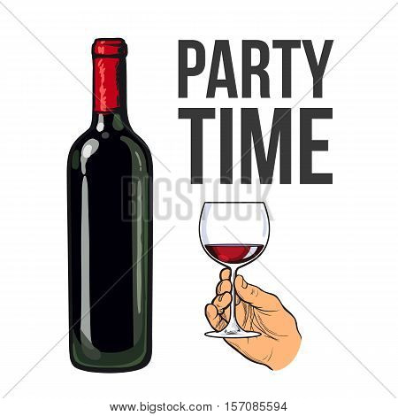 Red wine bottle and hand holding glass, sketch style vector illustration isolated. Realistic hand drawing of an unlabeled, unopened wine bottle and hand holding glass of wine for posters, postcards