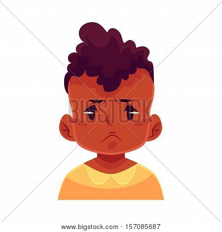 Little boy face, angry facial expression, cartoon vector illustrations isolated on white background. black male kid emoji face, feeling distressed, frustrated, sullen, upset. Angry face expression