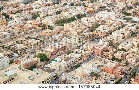 Aerial view of Riyadh downtown. Riyadh, Saudi Arabia.