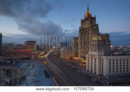 Ministry of Foreign Affairs building (Stalin skyscraper) at evening in Moscow, Russia