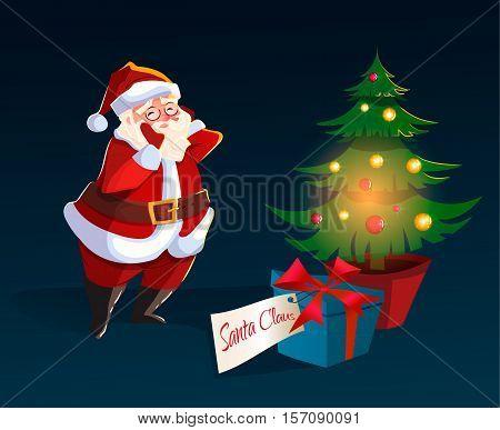 Christmas character. Santa Claus found christmas gift box. happy new year. garlands, xmas tree