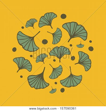 design in circle with leaves of ginkgo. Bright yellow background