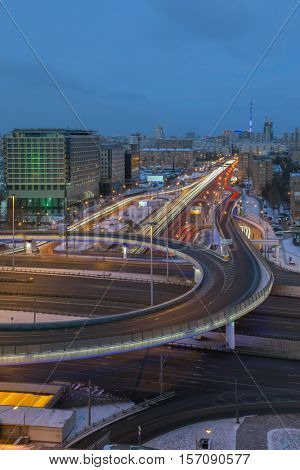 Road interchange of Third Ring Road and Leningradsky Prospect in Moscow, Russia at evening