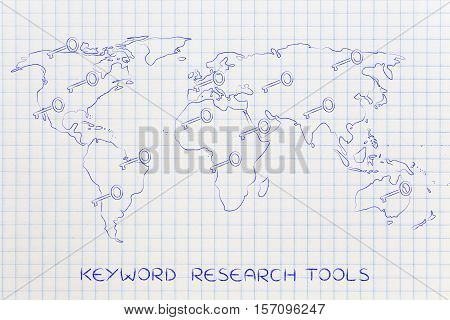 World Map With Keys, Concept Of Online Content Keywords