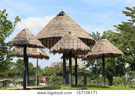 Thai style with thatched cottage of summer, Thailand.