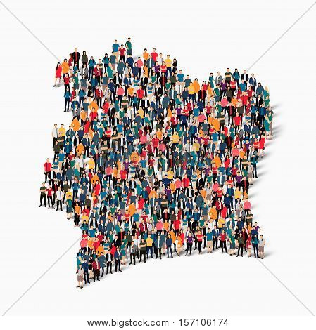 Isometric set of styles, people, map of Ivory Coast, country, web infographics concept of crowded space, flat 3d. Crowd point group forming a predetermined shape. Creative people.  illustration. Photo .3D illustration. White background . Isolated.