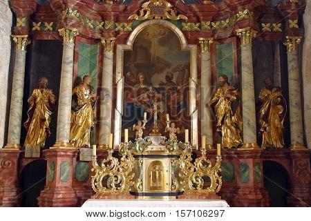 KRASIC, CROATIA - MAY 15: Adoration of Magi, altar in parish church of the Holy Trinity in Krasic, Croatia on May 15, 2012