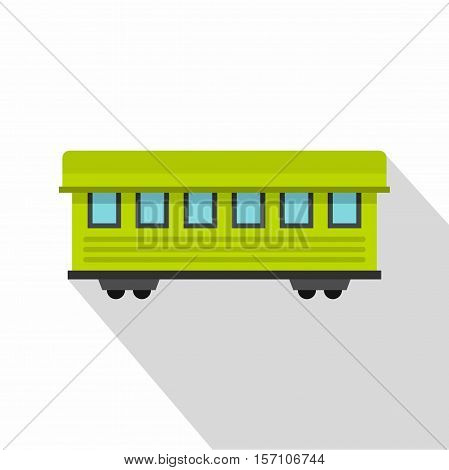 Passenger train car icon. Flat illustration of passenger train car vector icon for web design