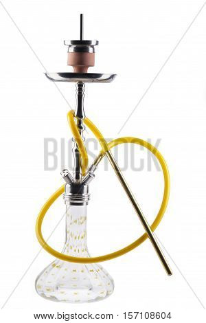 Modern yellow hookah isolated on white background. Eastern smokable water pipe smoking on white background. yellow hookah with black rubber tube and green flask isolated on white background.