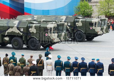 MOSCOW - MAY 6: Iskander - Tactical ballistic missile in the Dress rehearsal of Military Parade on 65th anniversary of Victory in Great Patriotic War on May 6, 2010 on Red Square in Moscow, Russia