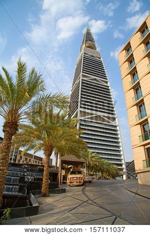 RIYADH - AUGUST 21: Al Faisaliah tower facade on August 21, 2016 in Riyadh, Saudi Arabia. Al Faisaliah towers is a luxury hotel and the most distinctive skyscraper in Saudi Arabia